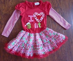 Rare Editions Girls Dress Size 5 Red I Love Santa - $12.69
