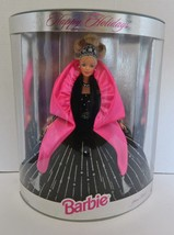 1998 Happy Holidays Barbie Special Edition Doll Black Velvet Pink Embell... - $16.71