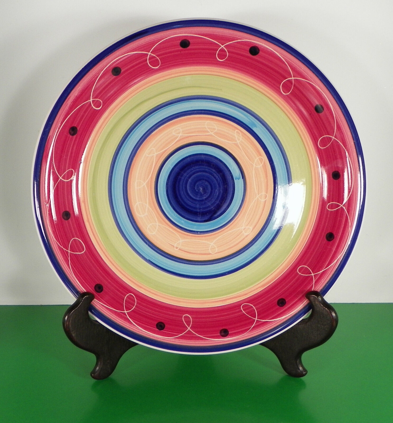 Primary image for Royal Norfolk RNF65 Dinner Plate Multicolor Bands Wavy Line Blue Dots
