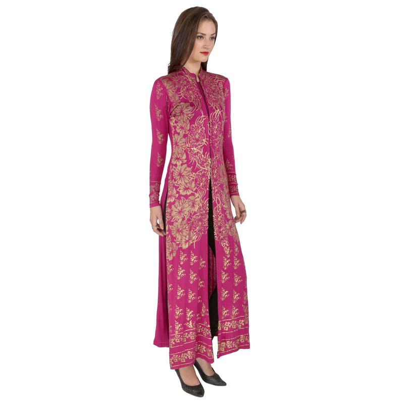 Ira Soleil viscose stretched lycra long kurta with gold print