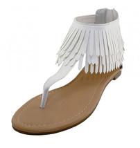 Womens White Fringe Thong Gladiator Sandals Back Zipper - $19.99
