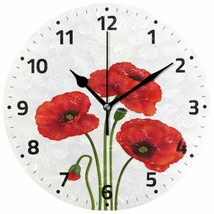 "Wall Clock 9.5"" Red Floral Flowers Spring Poppy Nature Shabby Chic Farmh... - $49.00"