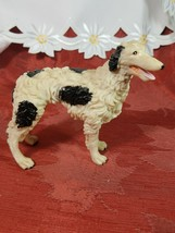 Borzoi Russian Wolfhound Resin Figurine Black and White