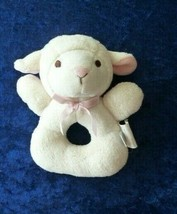 Cream Pink Plush Lamb Sheep Koala Baby Stuffed Ring Rattle Baby Girl Toy EUC - $12.86