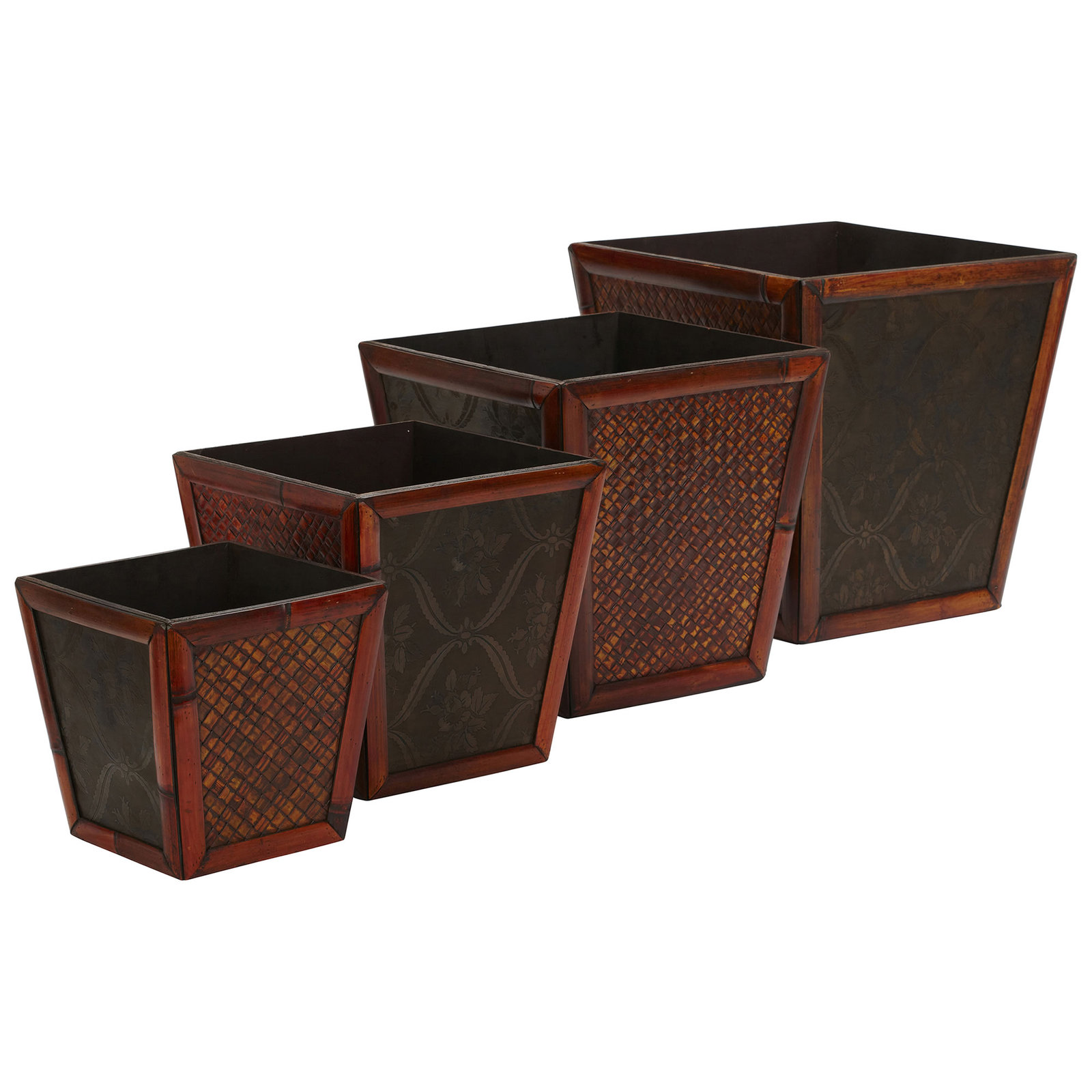 Bamboo Square Decorative Planters (Set of 4), Nearly Natural