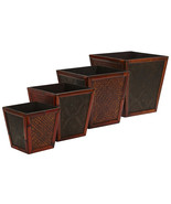 Bamboo Square Decorative Planters (Set of 4), Nearly Natural - £65.55 GBP