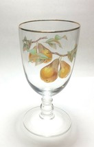 "Royal Worcester Gold Trim Evesham 14 oz Water Goblet Glass 7"" Pears - $9.88"