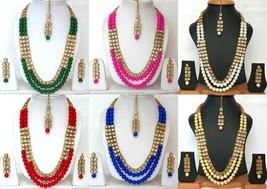 Indian Ethnic Bollywood Gold Plated Kundan Fashion Bridal Jewelry Necklace Set 3 - $25.99