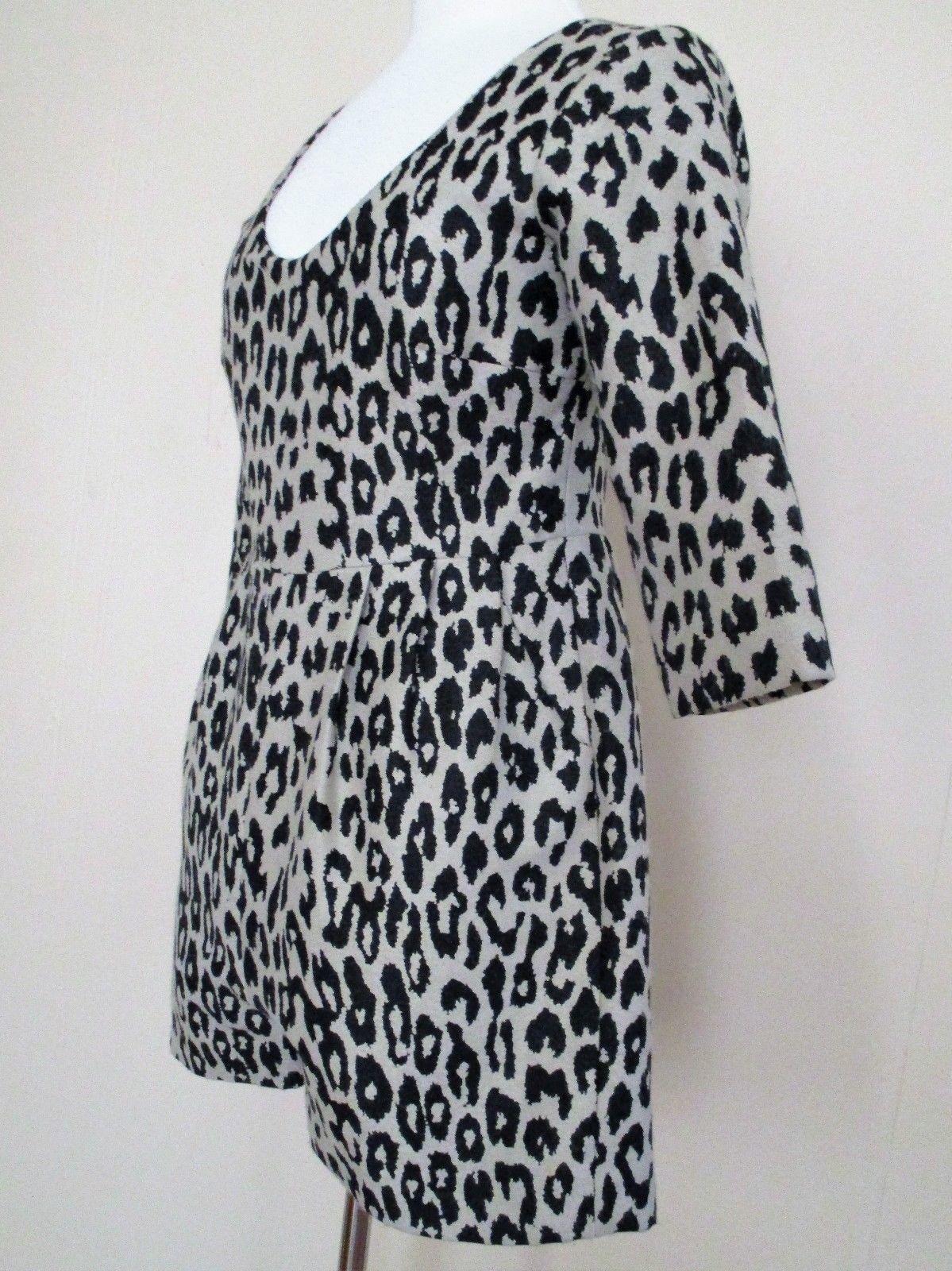 Loeffler Randall Romper Small Women leopard print wool blend 3/4 sleeve