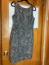 Ann Taylor Animal Print Sheath Dress Sleeveless Side Zip Black Gray Size 8 - $14.92