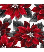 Fabric-Poised Poinsettia- Hoffman-Silver Metallic # R7667-176S - $11.30