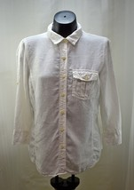 Talbots White Irish Linen Button-Front-3/4 Roll-Up Button Sleeve Shirt-Women's M - $17.05