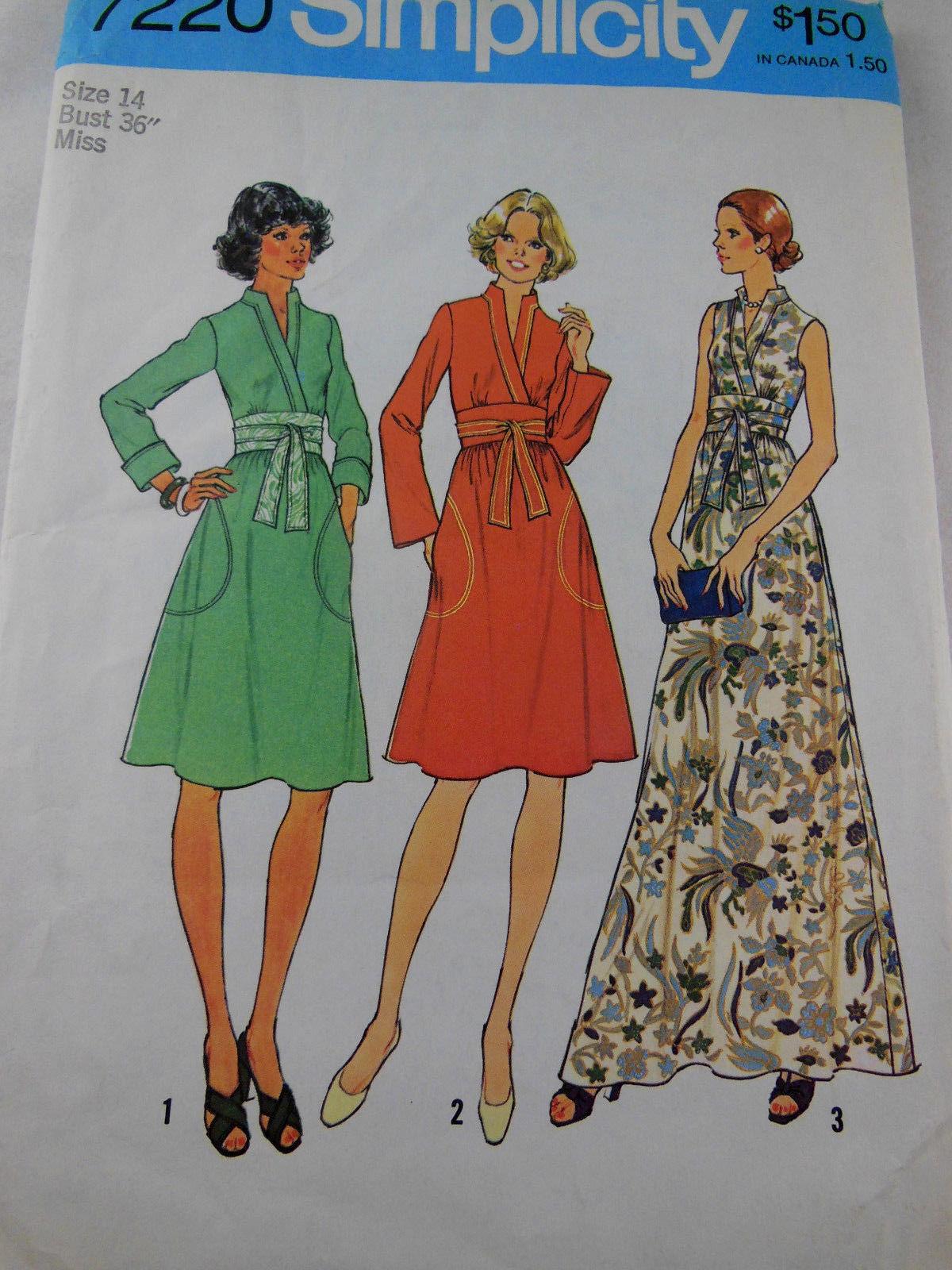 e96c20ef96 57. 57. Previous. Vintage 1975 Simplicity 7220 Pattern Misses 1970s Fashion Dress  size 14 UNCUT FF