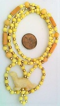 Yellow Jade Peach Aventurine Gemstone Necklace - $27.24
