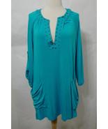 NANETTE LEPORE Swim Cover Turquoise Stud Beach Long Sleeve W/Pockets NWOT L - $170.99