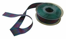 Scottish Tartan Green Red Blue Reversible Ribbon 25mm 3 Lengths - $4.75+