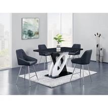 Global Furniture D964 BT W/D1067BS- BL Faux Marble Top Table PU Bar Set 5 Pcs