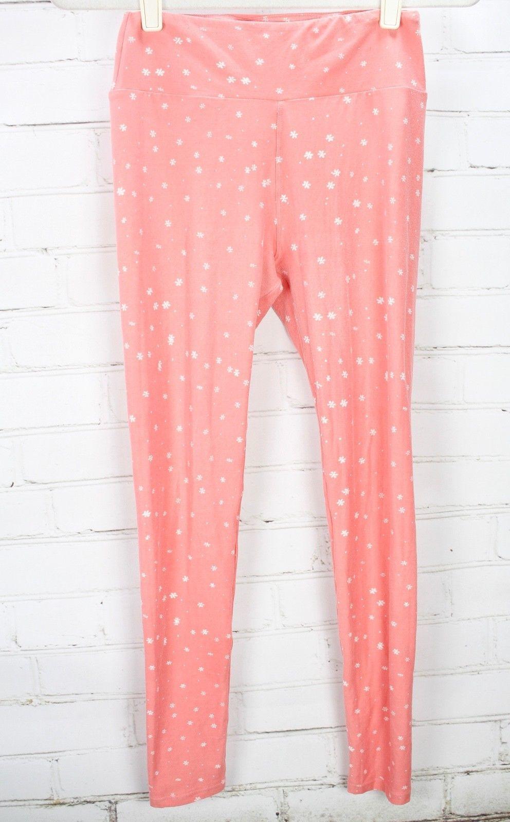 LULAROE Leggings Pink Floral Print OS One Size - Lot of 2 image 7