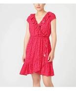 New J Crew Briar Red Ruffle Floral Print V-neck Flounce Hem A-line Dress... - $44.54