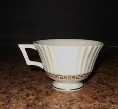 "Lenox China Cretan Cup Pattern 316 Translucent Cream Gold Trim 4"" Across - $5.39"