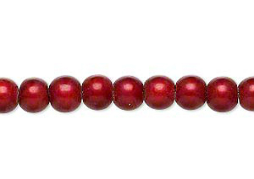6mm Acrylic Round Beads, Wonder Cranberry, luminous 16in strand, 70 plastic red