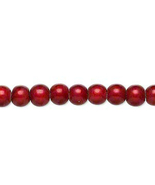 6mm Acrylic Round Beads, Wonder Cranberry, luminous 16in strand, 70 plas... - $2.50