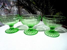 Set of 3 Vaseline Glass Green Sherbet Glasses Ribbon Pattern c 1930 Haze... - $24.75