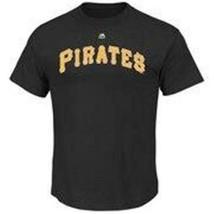 NEW MENS MAJESTIC PITTSBURGH PIRATE WORDMARK T-SHIRT MLB BASEBALL SIZE L - $18.88