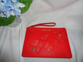 Michael Kors Butterflies Jst Xl Zip Clutch Wristlet Leather Dark Sangria Handbag - $69.28