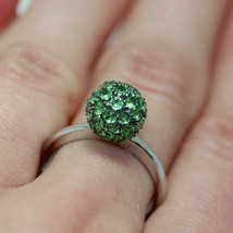 1.25 Ct Round Cut Green Emerald Cluster Engagement Ring 14k White Gold F... - $117.62