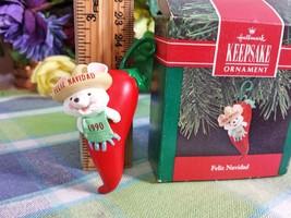 HALLMARK Feliz Navidad 1990 Christmas ornament Mouse with Chili Pepper o... - $11.75