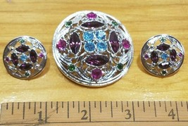 Sara Coventry Brooch And Earring Set Purple Blue & Green - $14.80