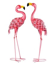 "Set of 2 - 37.3"" Pink Flamingo Bird Design Garden Statues Metal Freestanding"