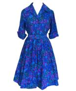 50s Vtg 100% Cotton Blue Pink Green Spot Dot Big Collar Shirtwaist Belte... - $110.00