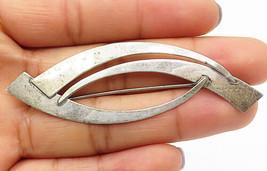 925 Sterling Silver - Vintage Modernist Designed Smooth Brooch Pin - BP2809 - $23.95
