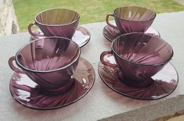 4 FRANCE Duralex Amethyst Purple Swirl Bormioli Rocco Cups and Saucer Sets - $29.00