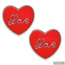 Holiday Lane Silver-Tone Love Heart Stud Earrings Red NEW NWT 19.50 - $3.96