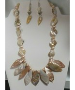 Mother-of-Pearl Shell & Baroque Pearl Necklace & Hook Earrings - $75.00