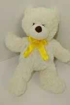 Animal Adventure Teddy Bear Plush cream off white yellow ribbon bow 2014 - $19.79