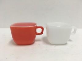 2 Vintage Glasbake Square Mug Coffee Cups Coral & White USA  #J-2265 GUC - $15.88
