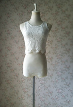White Sleeveless Lace Tank Tops Bridesmaids Lace Top Crop Top Plus Size Lace Top image 5