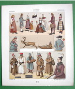 SWEDEN Raindeer Sledge Costume of Lapps Peasants - RACINET Color Litho P... - $12.15