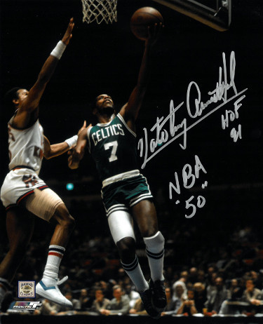 Nate Archibald signed Boston Celtics 8x10 Photo dual HOF 91 & NBA 50