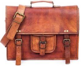 "100% Pure Leather 15"" Vintage Genuine Leather Office formal Travel Brown... - $57.89"