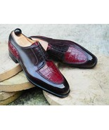 Handmade Men's Derby Lace Up Crocodile Texture Leather Round Toe Dress S... - $159.97+