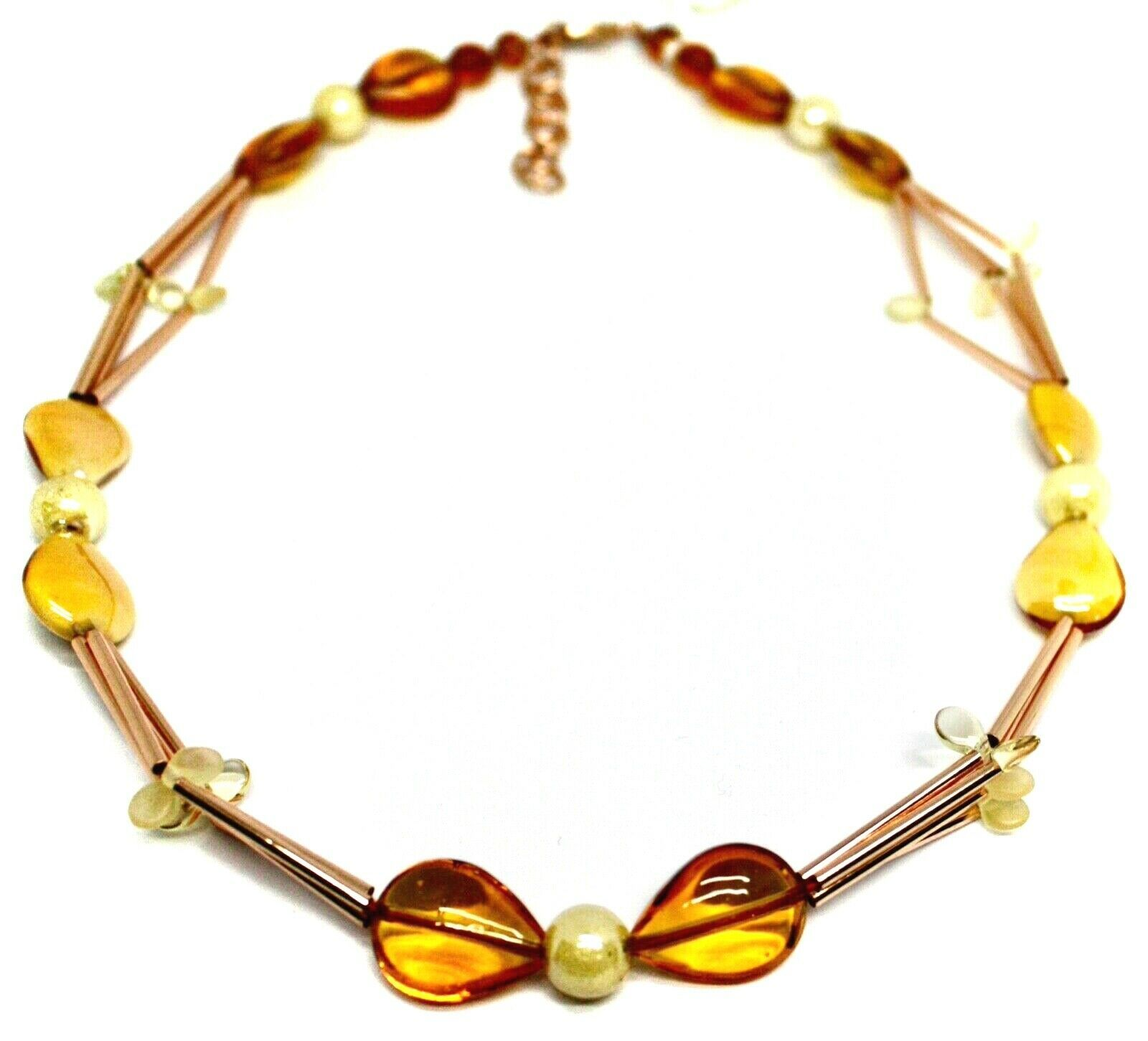 """ROSE NECKLACE TUBE ORANGE DROPS SPHERES PETALS MURANO GLASS, 50cm 20"""" ITALY MADE"""