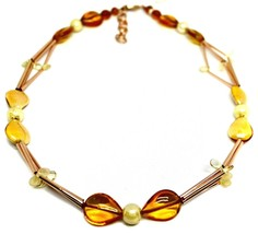 """ROSE NECKLACE TUBE ORANGE DROPS SPHERES PETALS MURANO GLASS, 50cm 20"""" ITALY MADE image 1"""