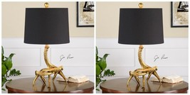 """PAIR MODERN LODGE DECOR 22"""" AGED GOLD DEER ANTLER ROPE ACCENT TABLE LAMPS - $308.00"""