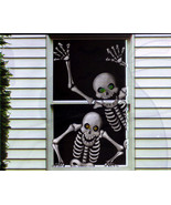 Hilarious Scary Skeletons Window Mural Halloween Decoration - $6.88