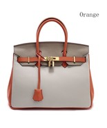 Color Block Pebbled Italian Leather 30cm Birkin Style Lock Satchel Handb... - $154.95